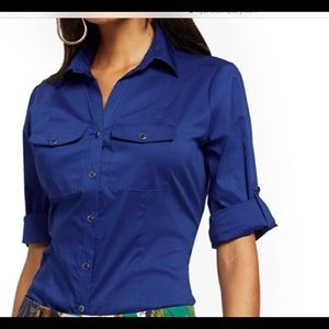 New York & Co Royal Blue Button Up
